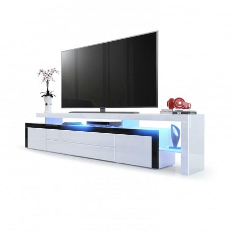 Meuble tv noir blanc laqu 227 cm avec led pour meubles for Meuble tele 90 cm