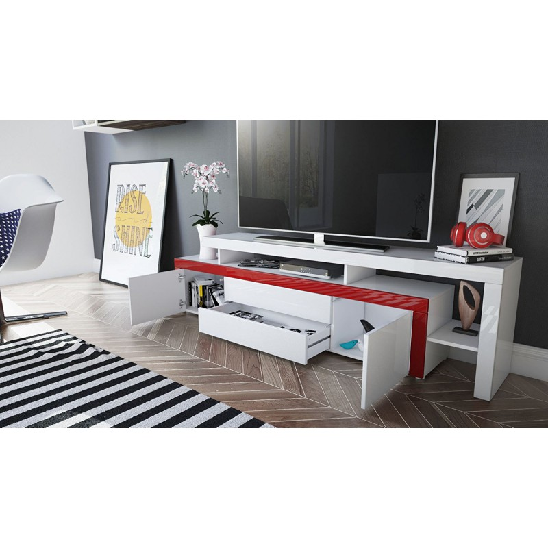 Meuble tv 193 cm m re blanc laqu pour meubles tv a 549 00 for Meuble bureau qui se referme