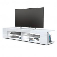 Meuble Tv corps blanc  mat  Façades en blanc laquées led Blanc
