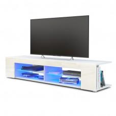 Meuble Tv corps blanc  mat  Façades en crème laquées led Bleu