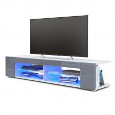Meuble Tv corps blanc  mat  Façades en gris laquées led Bleu