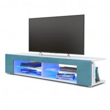 Meuble Tv blanc  mat  Façades en turquoise  laquées led Bleu