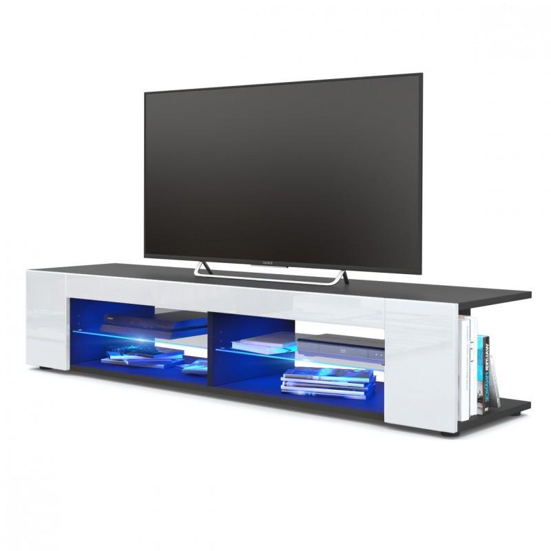 meuble tv corps noir mat fa ades en blanc laqu es led bleu. Black Bedroom Furniture Sets. Home Design Ideas