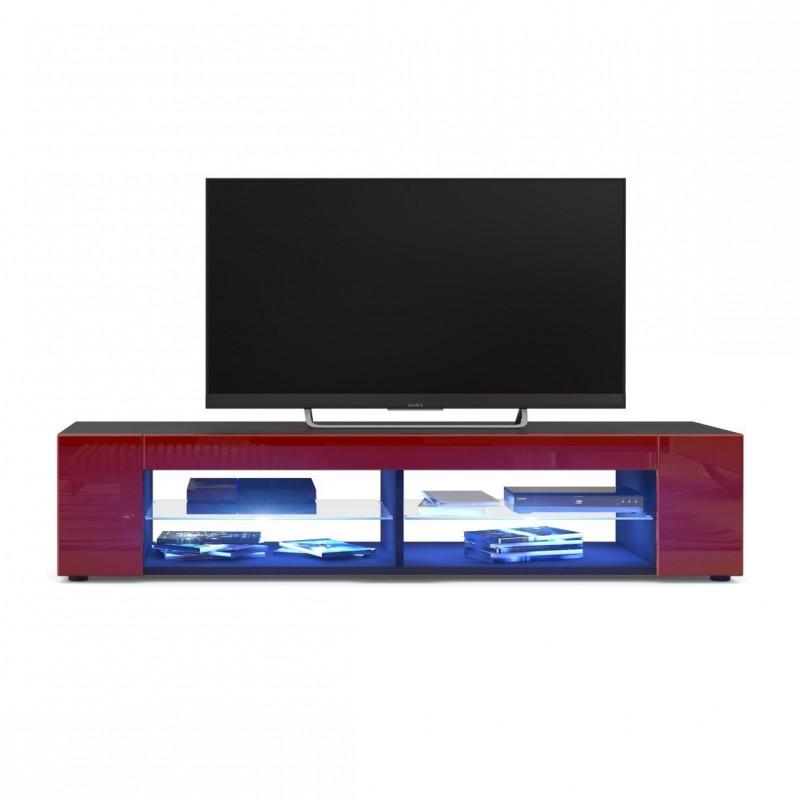 meuble tv corps noir mat fa ades en bordeaux laqu es led bleu pour. Black Bedroom Furniture Sets. Home Design Ideas