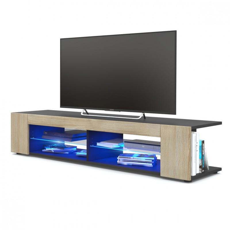 meuble tv corps noir mat fa ades en ch ne brut mdf led bleu pour me. Black Bedroom Furniture Sets. Home Design Ideas