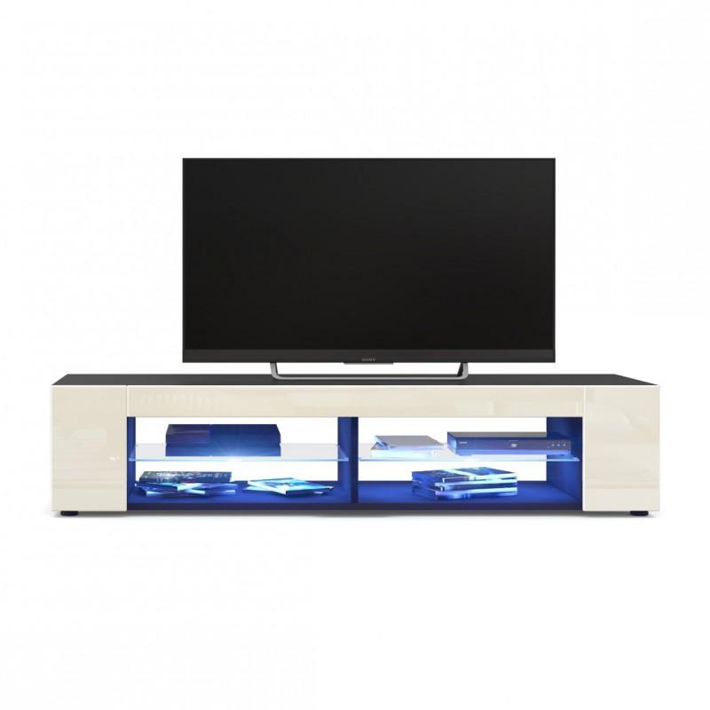 meuble tv corps noir mat fa ades en cr me laqu es led bleu pour meu. Black Bedroom Furniture Sets. Home Design Ideas