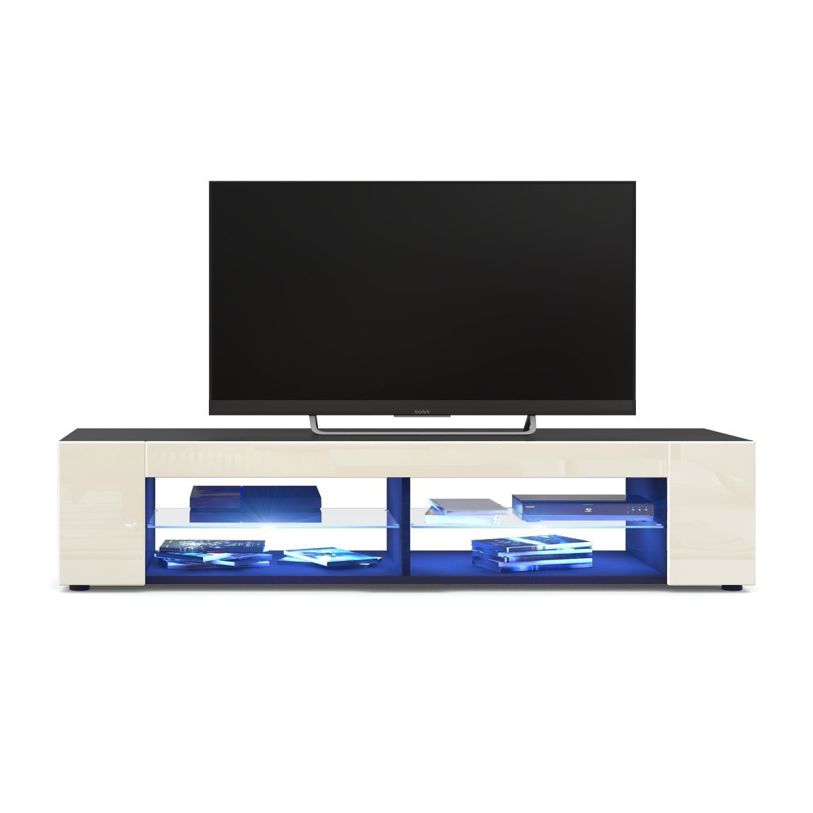 meuble tv corps noir mat fa ades en cr me laqu es led bleu. Black Bedroom Furniture Sets. Home Design Ideas
