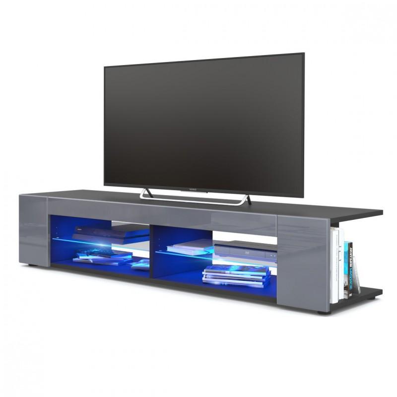 meuble tv corps noir mat fa ades en gris laqu es led bleu pour meub. Black Bedroom Furniture Sets. Home Design Ideas