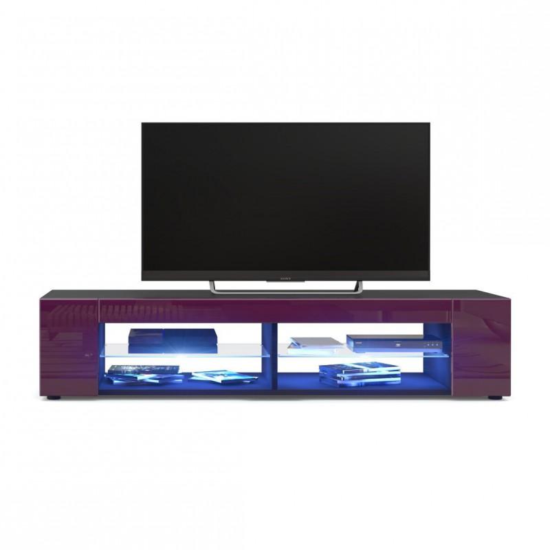 meuble tv corps noir mat fa ades en m re laqu es led bleu pour meub. Black Bedroom Furniture Sets. Home Design Ideas