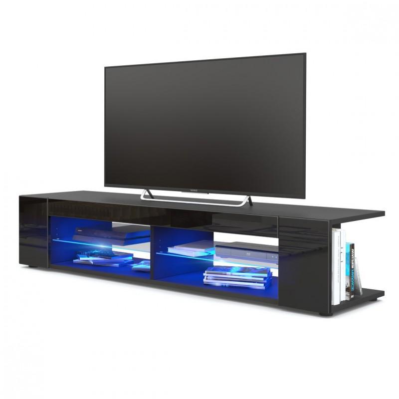 meuble tv corps noir mat fa ades en noir laqu es led bleu. Black Bedroom Furniture Sets. Home Design Ideas