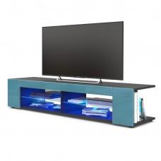 Meuble Tv corps  Noir mat  Façades en Turquoise laquées led Bleu