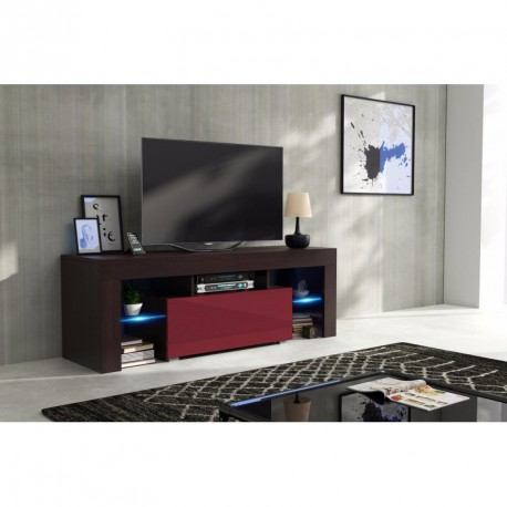 meuble tv 130 cm corps wengu mat et porte laqu e bordeaux avec led. Black Bedroom Furniture Sets. Home Design Ideas