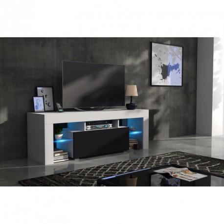 Meuble tv 130 cm corps blanc mat et porte laqu e noir avec for Meuble tv combine
