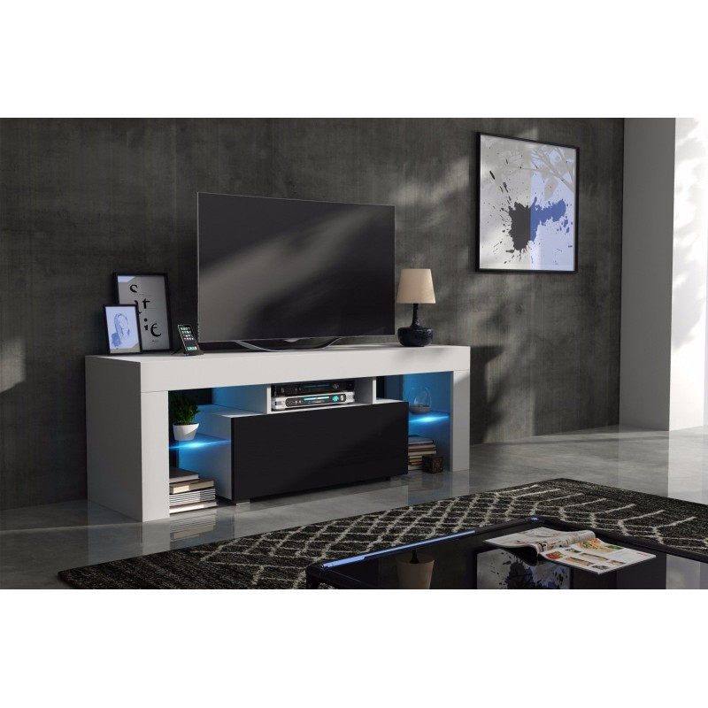 meuble tv 130 cm corps blanc mat et porte laqu e noir avec. Black Bedroom Furniture Sets. Home Design Ideas
