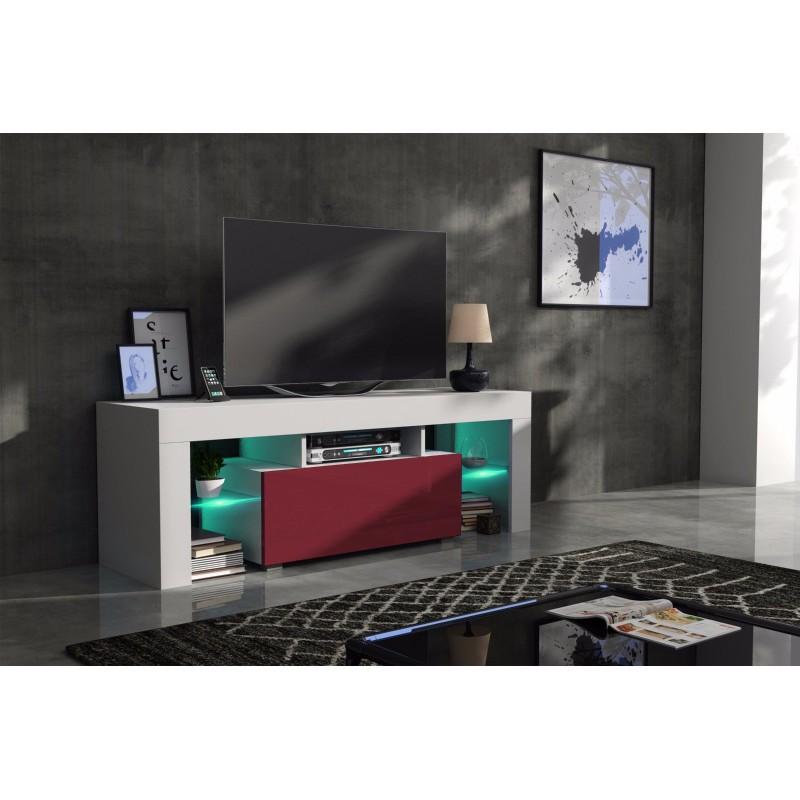 meuble tv 130 cm corps blanc mat et porte laqu e bordeaux. Black Bedroom Furniture Sets. Home Design Ideas