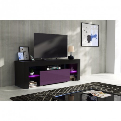 meuble tv 130 cm corps noir mat et porte laqu e m re avec. Black Bedroom Furniture Sets. Home Design Ideas