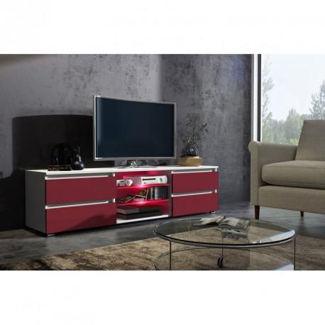Meuble tv 150 cm blanc mat et façade bordeaux laquée