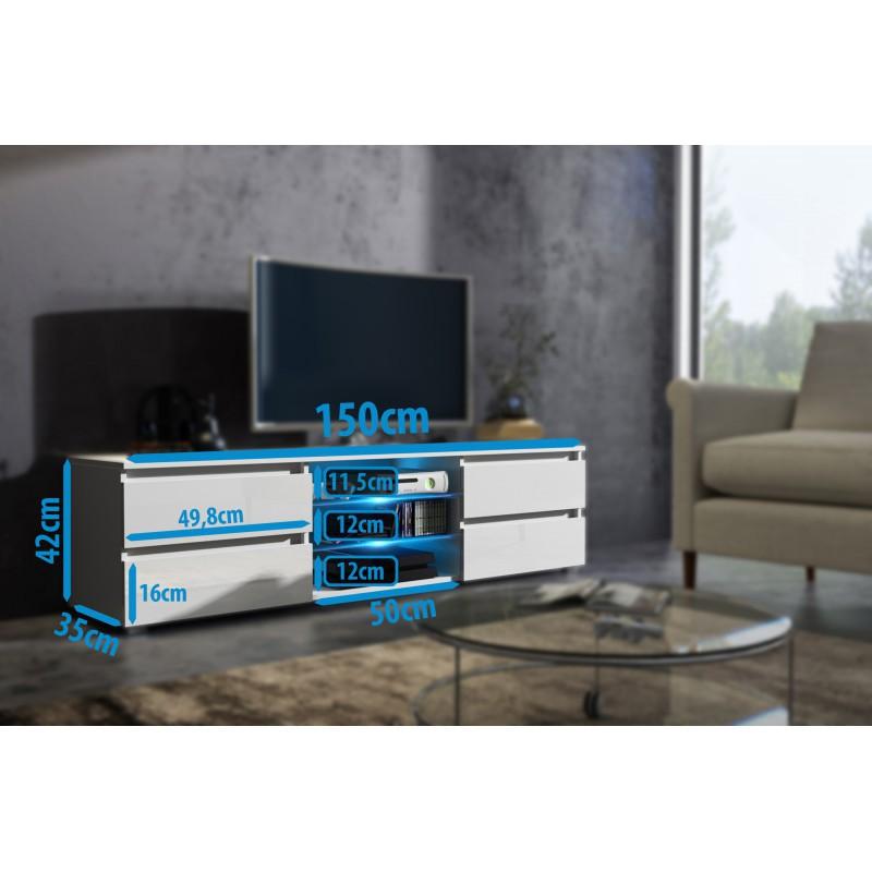 Meuble tv 150 cm blanc mat et fa ade noir laqu e pour meubles moder - Meuble tv 150 cm ...