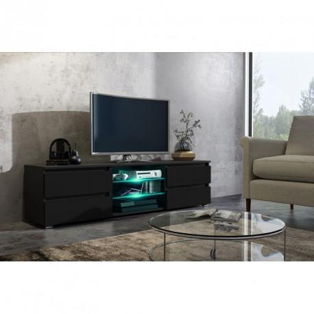 Meuble tv 150 cm noir mat et façade laquée