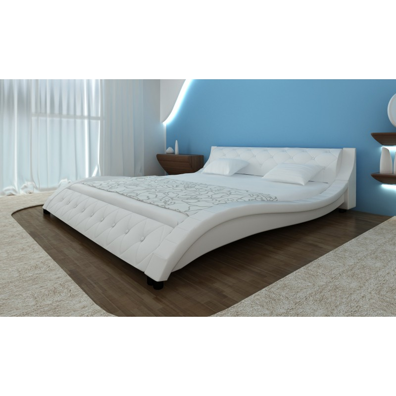 lit design courbe blanc avec matelas 180 x 200. Black Bedroom Furniture Sets. Home Design Ideas