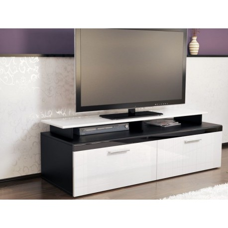 meuble tv noir et blanc pour meubles tv a 287 56. Black Bedroom Furniture Sets. Home Design Ideas