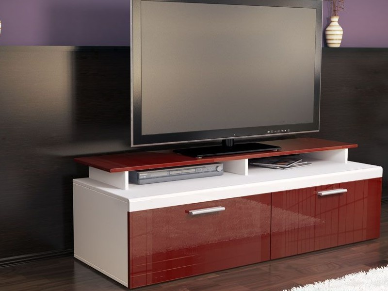 meuble tv blanc et bordeaux pour meubles tv design a 267 43. Black Bedroom Furniture Sets. Home Design Ideas