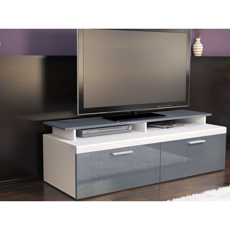 meuble tv blanc et gris pas cher meubles discount en ligne meubles tv discount. Black Bedroom Furniture Sets. Home Design Ideas