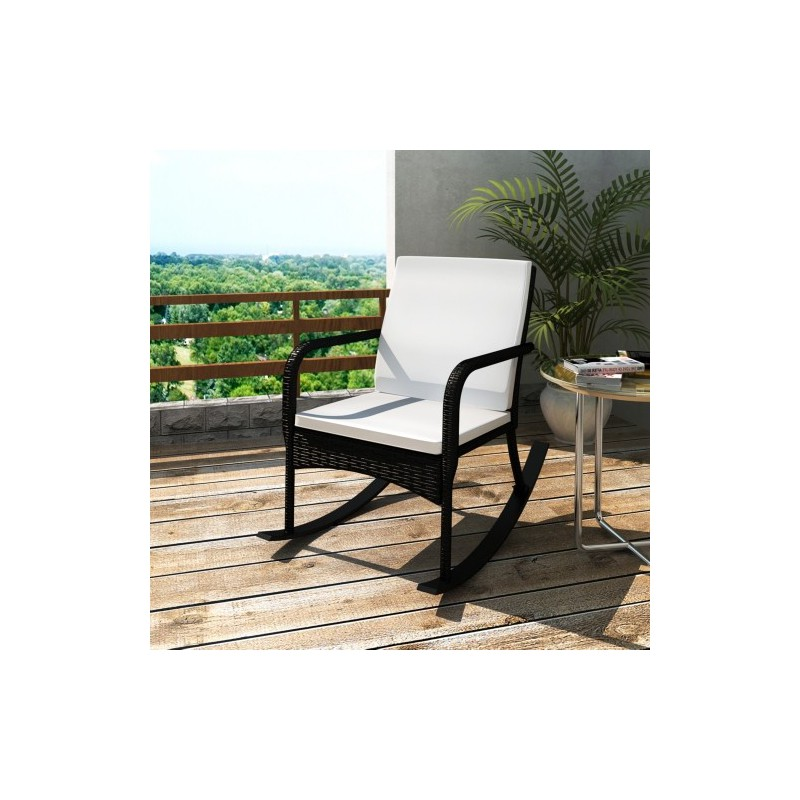 rocking chair fauteuil bascule en rotin brun ou noir 101 x 65 x 9. Black Bedroom Furniture Sets. Home Design Ideas