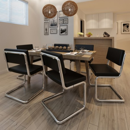 Set de 6 chaises de salon design et moderne en simili cuir for Salon cuir moderne design