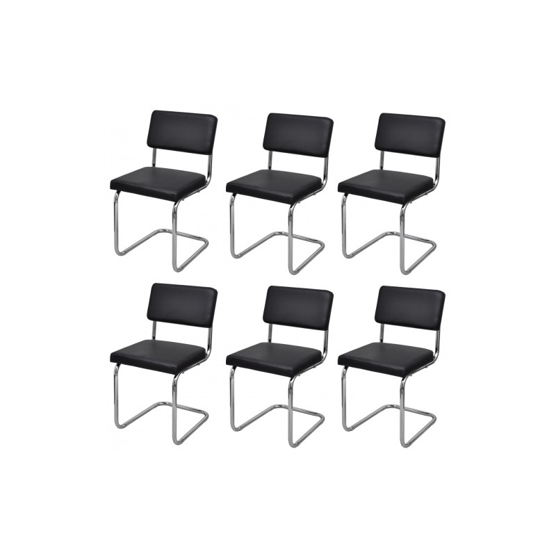 set de 6 chaises de salon design et moderne en simili cuir noir pas cher meubles discount en. Black Bedroom Furniture Sets. Home Design Ideas