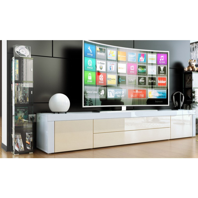Meuble bas tv laqu blanc cr me for Meuble tv long et bas