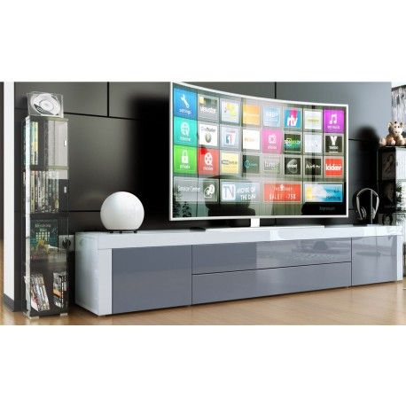 meuble bas tv laqu blanc gris. Black Bedroom Furniture Sets. Home Design Ideas