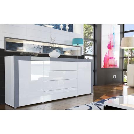 Buffet design laqu blanc blanc gris pour buffets design - Buffet de salle a manger noir et gris laque 150 cm ...