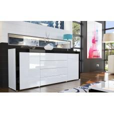 Buffet design laqué blanc/blanc/noir