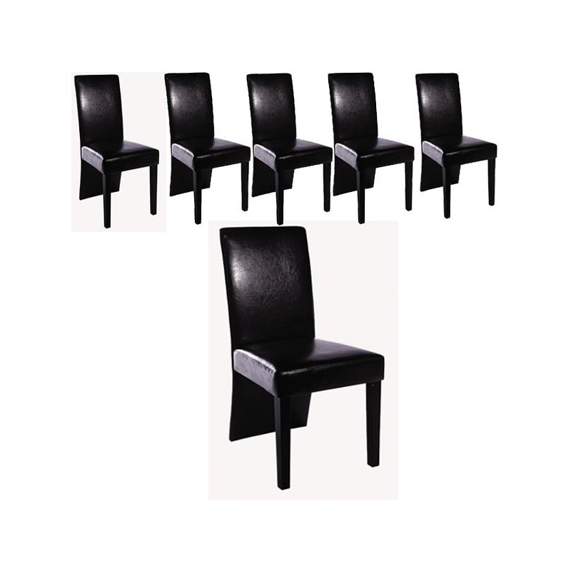 ensemble de 6 chaises simili cuir noir pour toutes nos. Black Bedroom Furniture Sets. Home Design Ideas