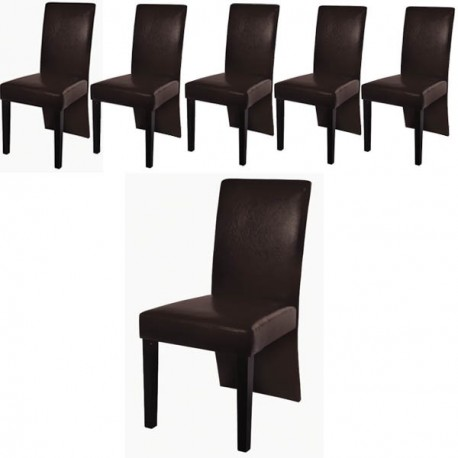 ensemble de 6 chaises simili cuir marron pour toutes nos chaises a. Black Bedroom Furniture Sets. Home Design Ideas