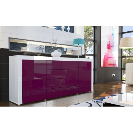 Buffet design laqu blanc violet - Meuble tv violet ...
