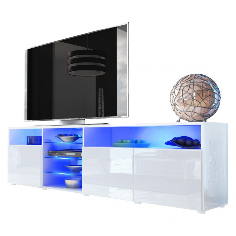 meuble tv bas blanc 194 cm pour meubles tv design a 498 36. Black Bedroom Furniture Sets. Home Design Ideas
