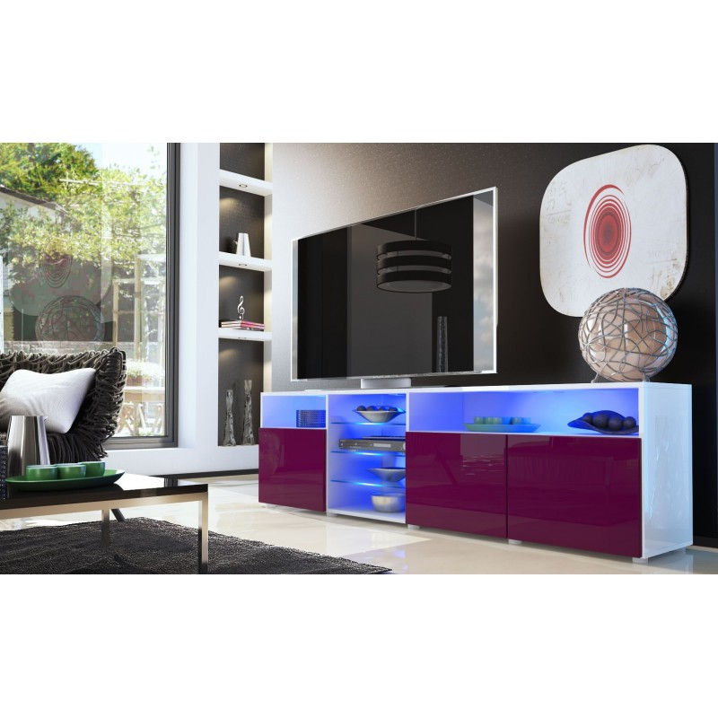 Meuble bas tv blanc m re 194 cm pour meubles tv design a for Meuble tv bas blanc