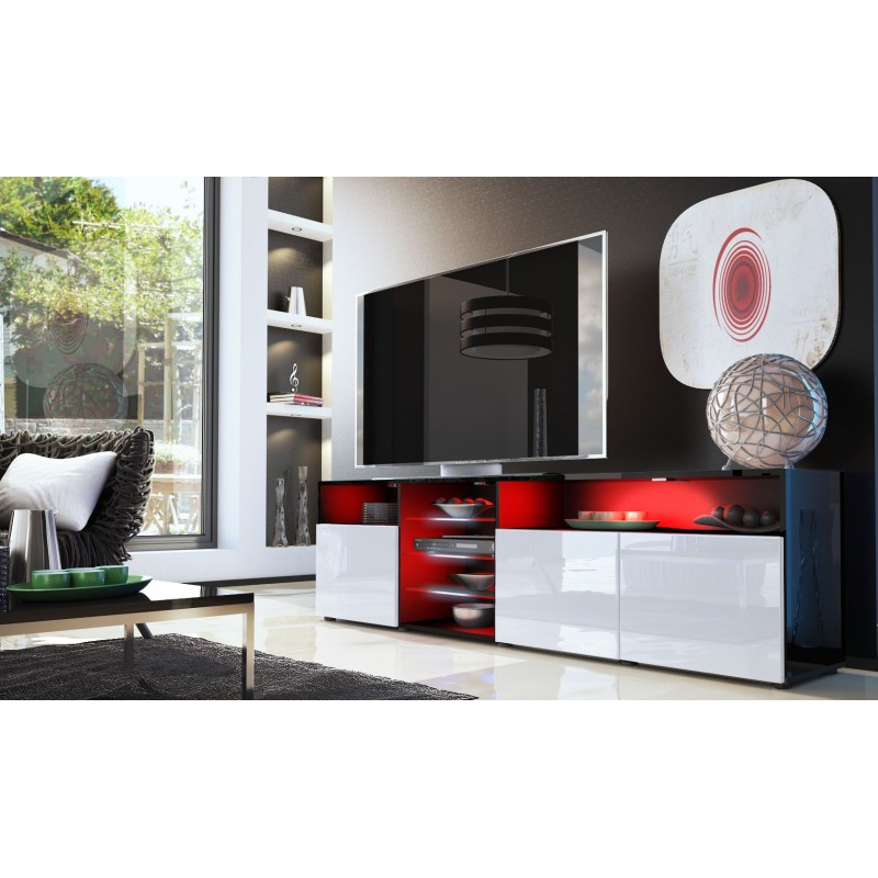 meuble bas tv noir blanc 194 cm pour meubles tv design a 498 36. Black Bedroom Furniture Sets. Home Design Ideas