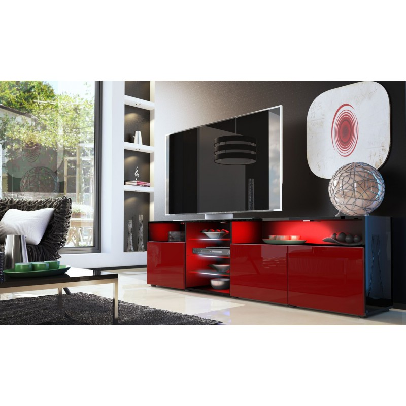 meuble bas tv noir bordeaux 194 cm pour meubles tv design a 498 36. Black Bedroom Furniture Sets. Home Design Ideas