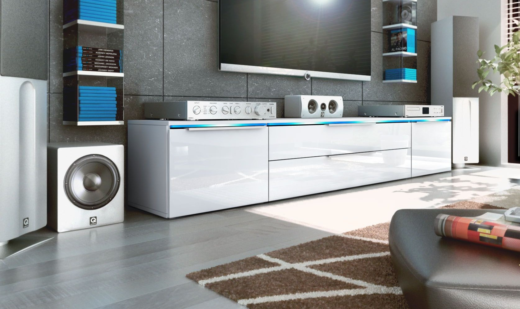 meuble tv bas blanc 200 cm pour meubles tv design a 479 42. Black Bedroom Furniture Sets. Home Design Ideas