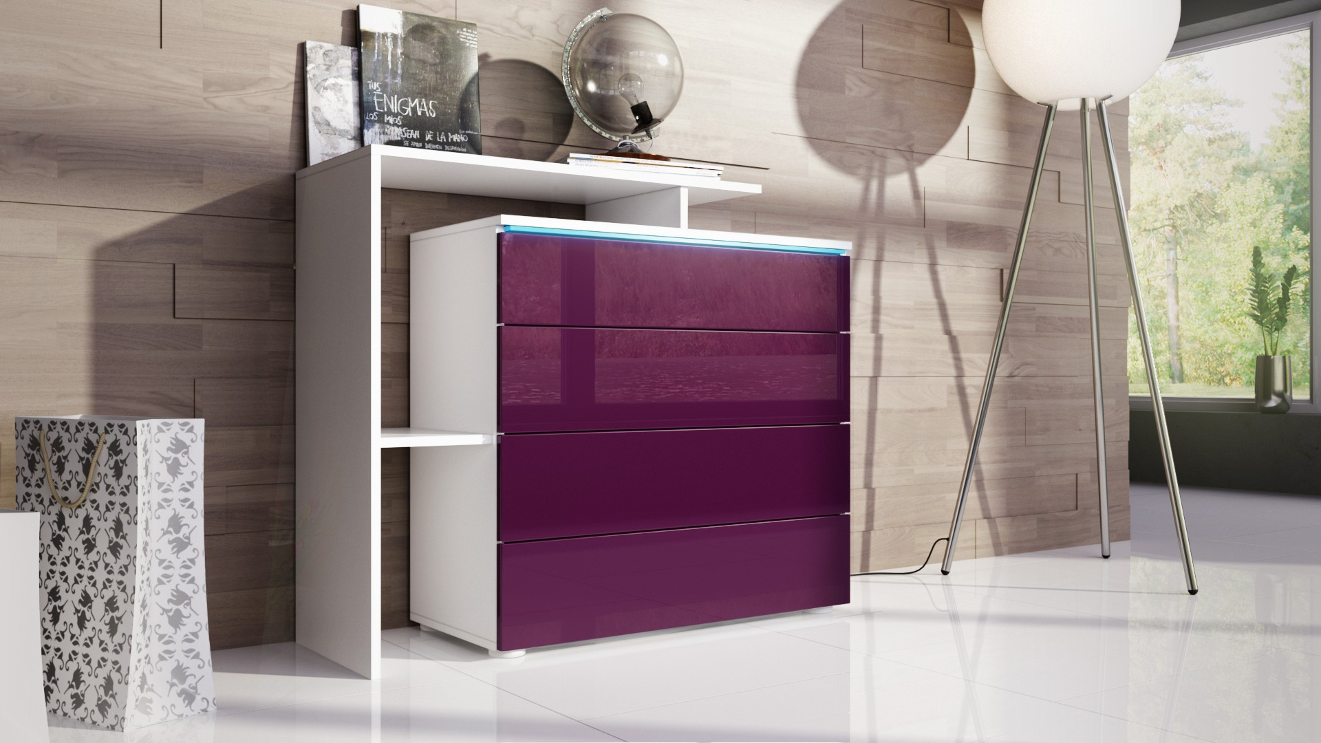 commode tr s design avec led blanche et m re pour meubles d 39 entr e. Black Bedroom Furniture Sets. Home Design Ideas