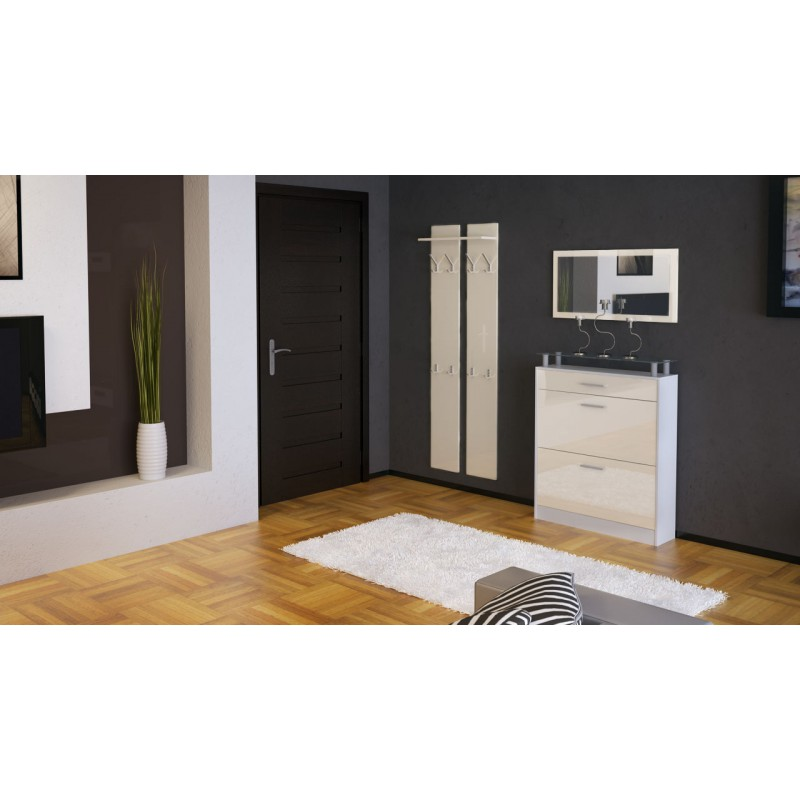 ensemble de hall d 39 entr e laqu blanc et cr me pour meubles d 39 entr. Black Bedroom Furniture Sets. Home Design Ideas