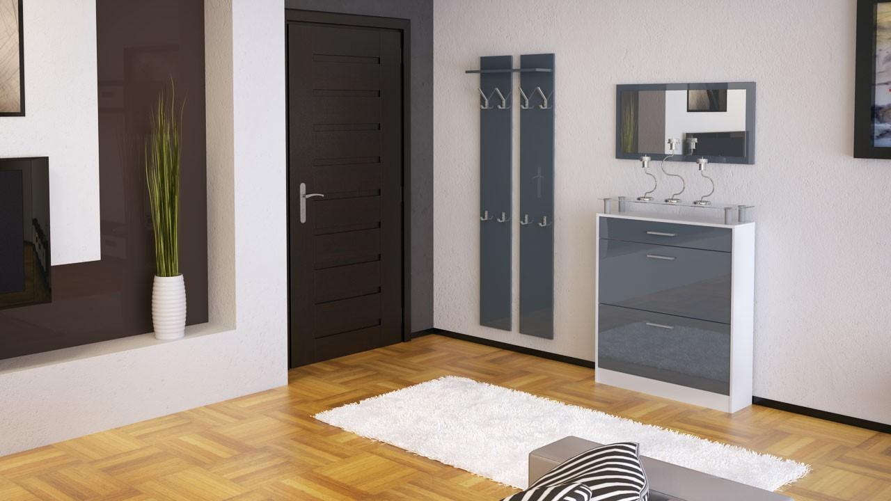 Ensemble de hall d 39 entr e laqu blanc et gris pour meubles for Meuble de couloir