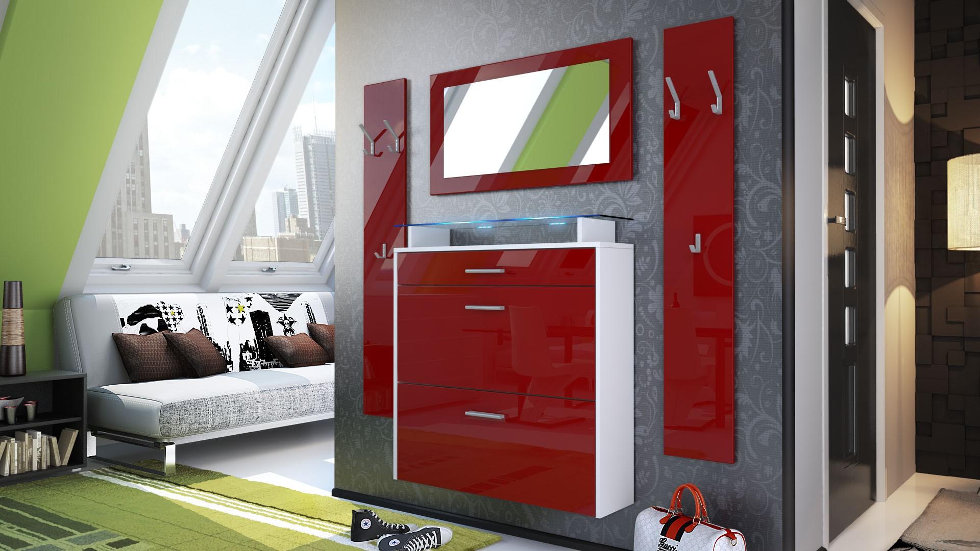 ensemble d 39 entr e laqu avec meuble chaussures blanc et bordeaux. Black Bedroom Furniture Sets. Home Design Ideas