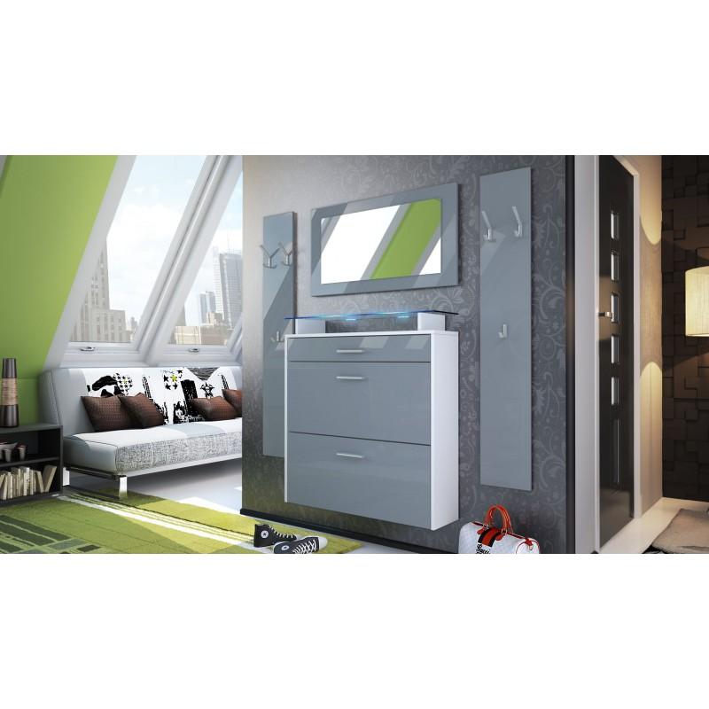 ensemble d 39 entr e design meuble chaussures penderie miroir laqu blanc et gris pas cher. Black Bedroom Furniture Sets. Home Design Ideas