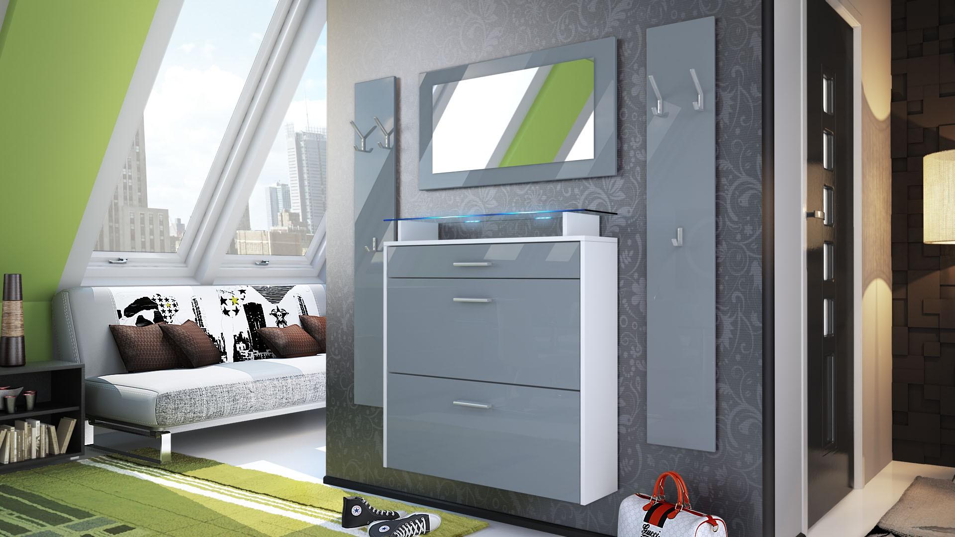 ensemble d 39 entr e design meuble chaussures penderie miroir laqu. Black Bedroom Furniture Sets. Home Design Ideas