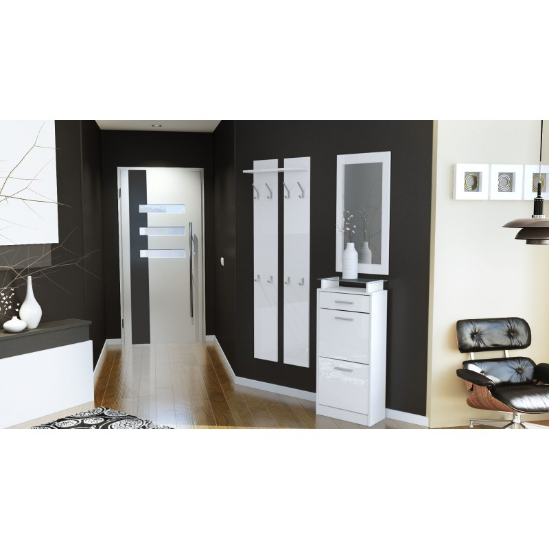 Ensemble de hall d 39 entr e laqu design blanc pour meubles for Meuble hall d entree
