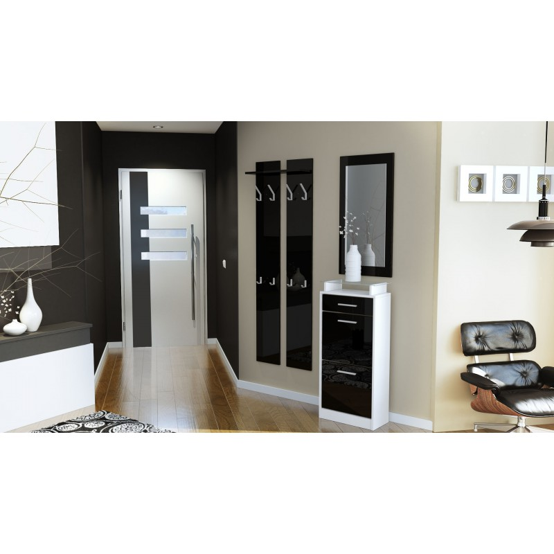 ensemble de hall d 39 entr e laqu design blanc et noir pour meubles. Black Bedroom Furniture Sets. Home Design Ideas